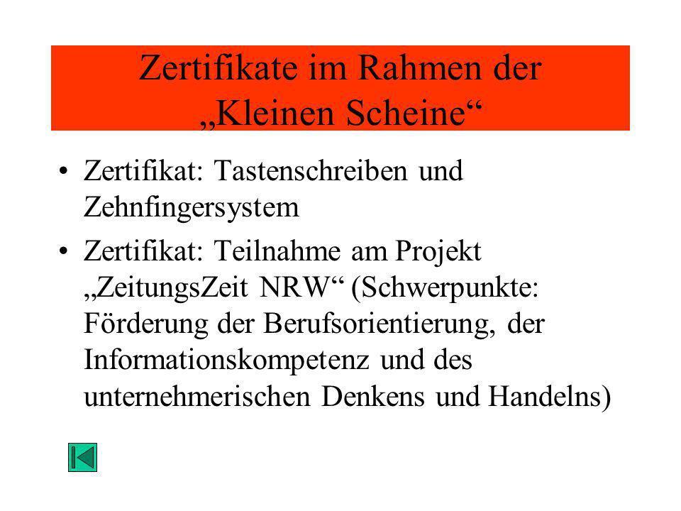 Zertifikate im Rahmen der Kleinen Scheine Zertifikat: Tastenschreiben und Zehnfingersystem Zertifikat: Teilnahme am Projekt ZeitungsZeit NRW (Schwerpu