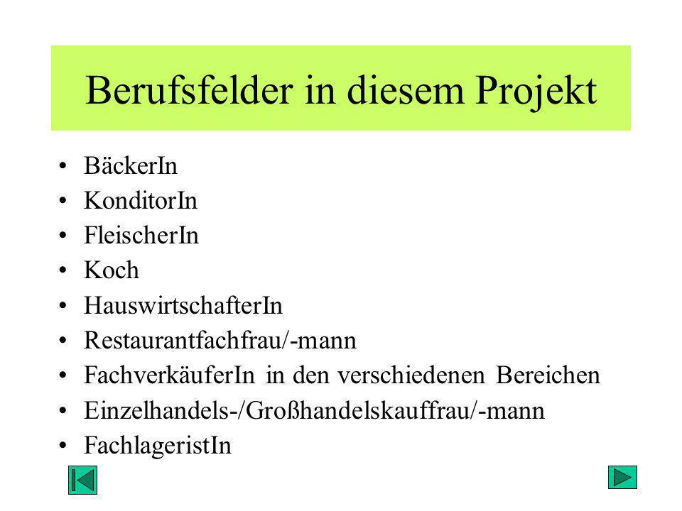 Berufsfelder in diesem Projekt BäckerIn KonditorIn FleischerIn Koch HauswirtschafterIn Restaurantfachfrau/-mann FachverkäuferIn in den verschiedenen B