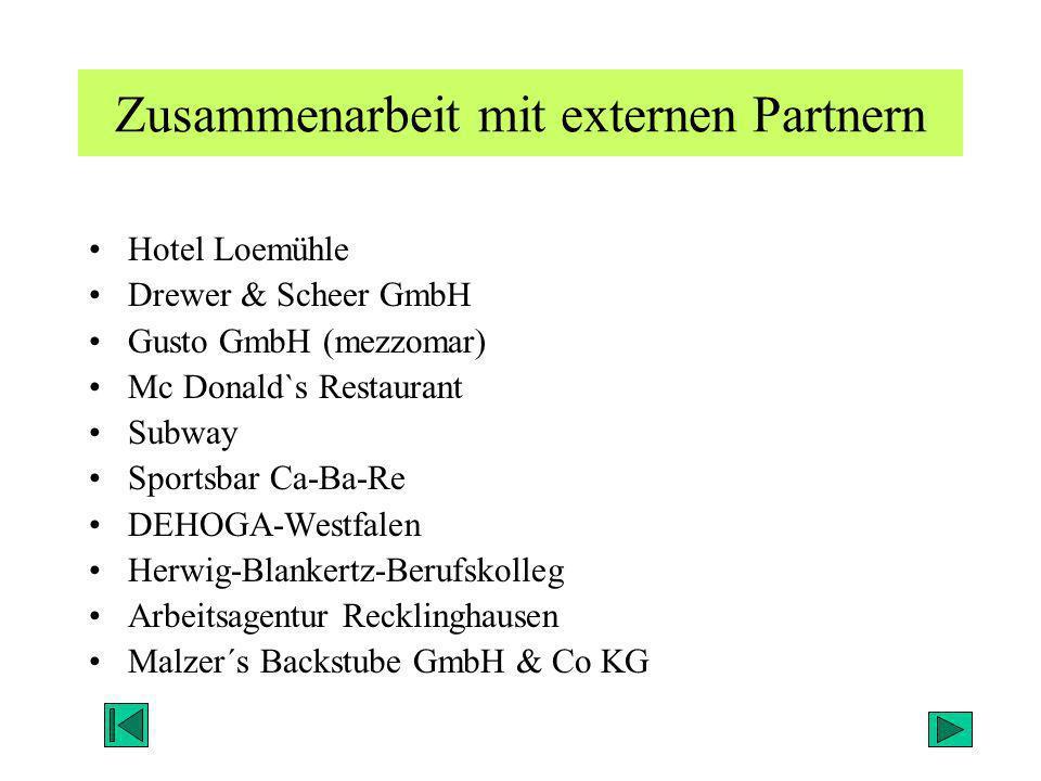 Zusammenarbeit mit externen Partnern Hotel Loemühle Drewer & Scheer GmbH Gusto GmbH (mezzomar) Mc Donald`s Restaurant Subway Sportsbar Ca-Ba-Re DEHOGA
