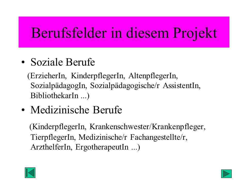 Berufsfelder in diesem Projekt Soziale Berufe (ErzieherIn, KinderpflegerIn, AltenpflegerIn, SozialpädagogIn, Sozialpädagogische/r AssistentIn, Bibliot