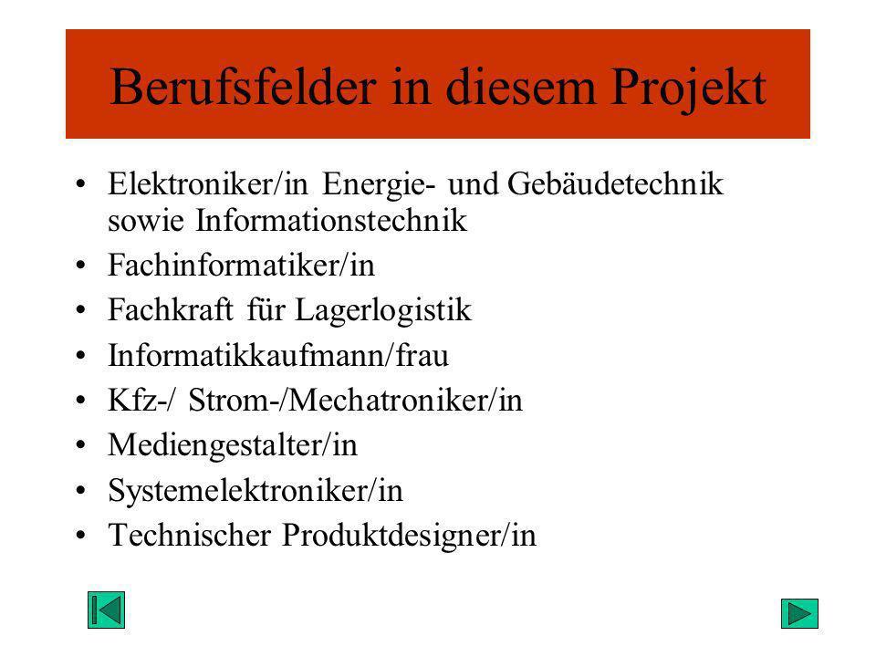 Berufsfelder in diesem Projekt Elektroniker/in Energie- und Gebäudetechnik sowie Informationstechnik Fachinformatiker/in Fachkraft für Lagerlogistik I
