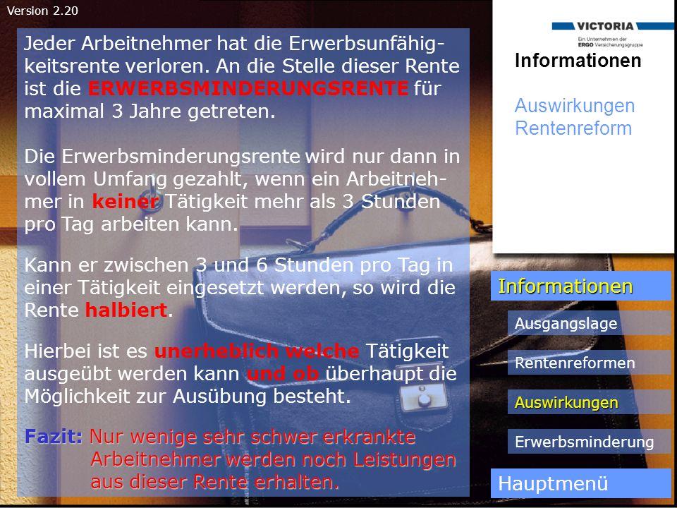 Version 2.20 Informationen Auswirkungen Rentenreform Informationen Hauptmenü Ausgangslage Rentenreformen Auswirkungen Erwerbsminderung Jeder Arbeitneh