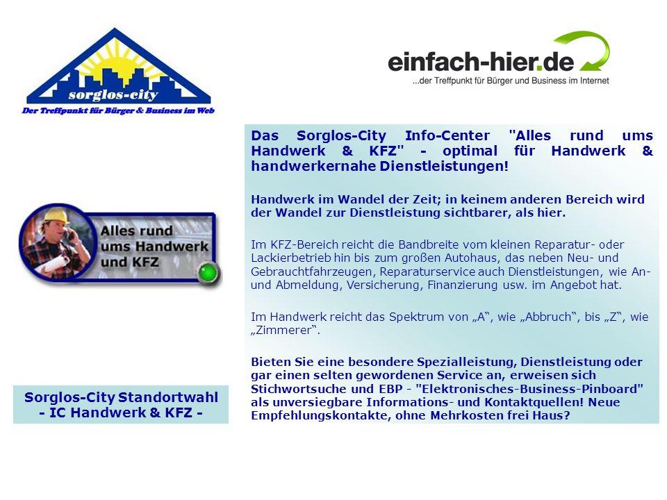 Sorglos-City Standortwahl - IC Handwerk & KFZ - Das Sorglos-City Info-Center