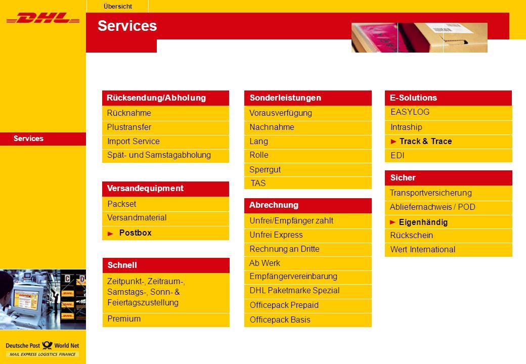 EASYLOG EDI Track & Trace E-Solutions Intraship Übersicht Nachnahme Lang Sonderleistungen Vorausverfügung Rolle Sperrgut TAS Plustransfer Import Service Rücksendung/Abholung Rücknahme Spät- und Samstagabholung Zeitpunkt-, Zeitraum-, Samstags-, Sonn- & Feiertagszustellung Premium Schnell Versandmaterial Postbox Versandequipment Packset Services Abliefernachweis / POD Eigenhändig Sicher Transportversicherung Rückschein Wert International Rechnung an Dritte Ab Werk Abrechnung Unfrei/Empfänger zahlt Empfängervereinbarung DHL Paketmarke Spezial Officepack Prepaid Officepack Basis Unfrei Express