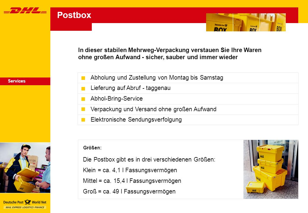 In dieser stabilen Mehrweg-Verpackung verstauen Sie Ihre Waren ohne großen Aufwand - sicher, sauber und immer wieder Größen: Die Postbox gibt es in drei verschiedenen Größen: Klein = ca.