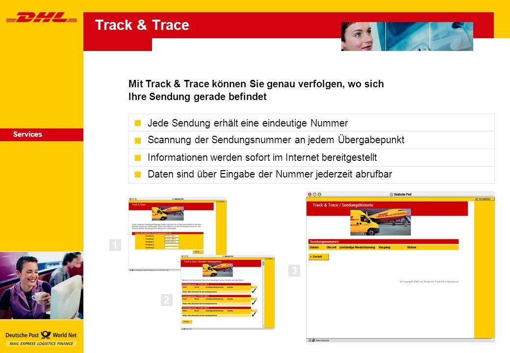 Mit Track & Trace können Sie genau verfolgen, wo sich Ihre Sendung gerade befindet Services 1 3 Jede Sendung erhält eine eindeutige Nummer Scannung der Sendungsnummer an jedem Übergabepunkt Informationen werden sofort im Internet bereitgestellt Daten sind über Eingabe der Nummer jederzeit abrufbar 2 Track & Trace