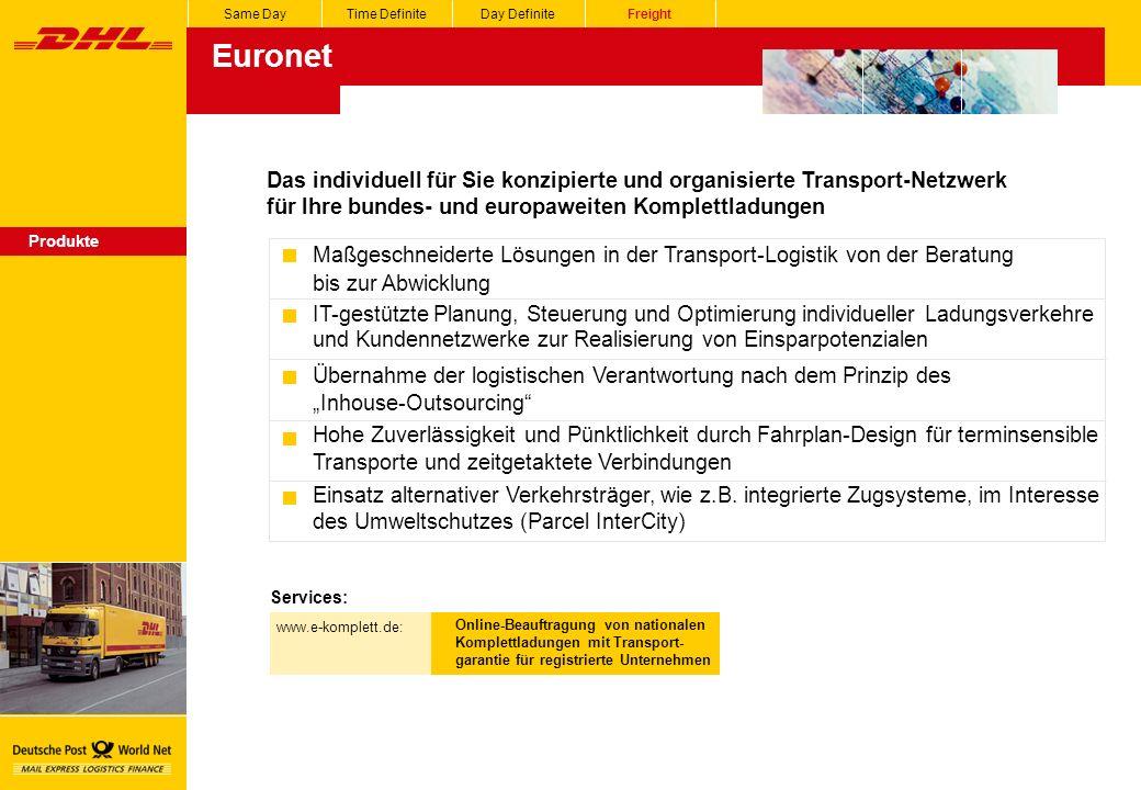 Euronet Same DayTime DefiniteDay DefiniteFreight Produkte Das individuell für Sie konzipierte und organisierte Transport-Netzwerk für Ihre bundes- und europaweiten Komplettladungen Maßgeschneiderte Lösungen in der Transport-Logistik von der Beratung bis zur Abwicklung IT-gestützte Planung, Steuerung und Optimierung individueller Ladungsverkehre und Kundennetzwerke zur Realisierung von Einsparpotenzialen Übernahme der logistischen Verantwortung nach dem Prinzip des Inhouse-Outsourcing Hohe Zuverlässigkeit und Pünktlichkeit durch Fahrplan-Design für terminsensible Transporte und zeitgetaktete Verbindungen Einsatz alternativer Verkehrsträger, wie z.B.