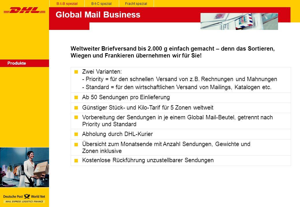 Global Mail Business Produkte Zwei Varianten: - Priority = für den schnellen Versand von z.B.
