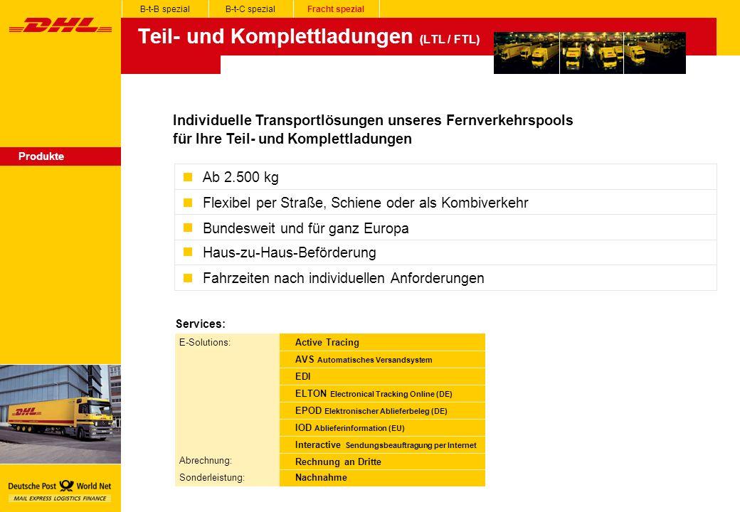 Teil- und Komplettladungen (LTL / FTL) Produkte Individuelle Transportlösungen unseres Fernverkehrspools für Ihre Teil- und Komplettladungen Ab 2.500 kg Flexibel per Straße, Schiene oder als Kombiverkehr Bundesweit und für ganz Europa Haus-zu-Haus-Beförderung Fahrzeiten nach individuellen Anforderungen B-t-B spezialB-t-C spezialFracht spezial Services: E-Solutions: Abrechnung: Sonderleistung: Active Tracing AVS Automatisches Versandsystem EDI ELTON Electronical Tracking Online (DE) EPOD Elektronischer Ablieferbeleg (DE) IOD Ablieferinformation (EU) Interactive Sendungsbeauftragung per Internet Rechnung an Dritte Nachnahme