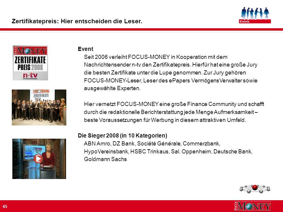 65 Event Seit 2006 verleiht FOCUS-MONEY in Kooperation mit dem Nachrichtensender n-tv den Zertifikatepreis.