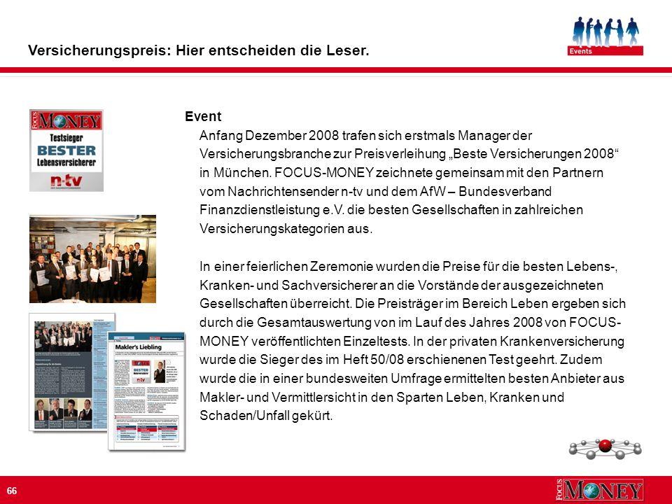 66 Event Anfang Dezember 2008 trafen sich erstmals Manager der Versicherungsbranche zur Preisverleihung Beste Versicherungen 2008 in München.