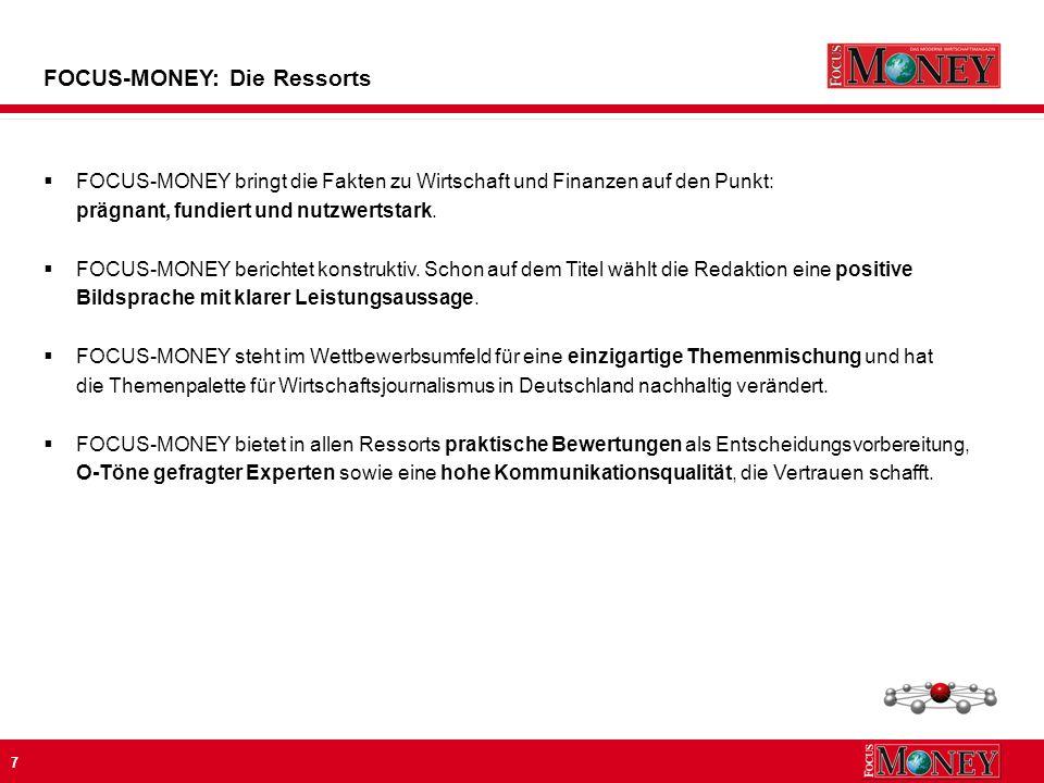 28 FOCUS-MONEY: Die Leistungswerte * Nicht MA-angepasst Basis:ausgewählte Finanztitel, Finanzanzeigenpreise 2009, Ø Preis 1/1 S.