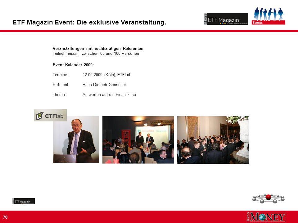 70 ETF Magazin Event: Die exklusive Veranstaltung.