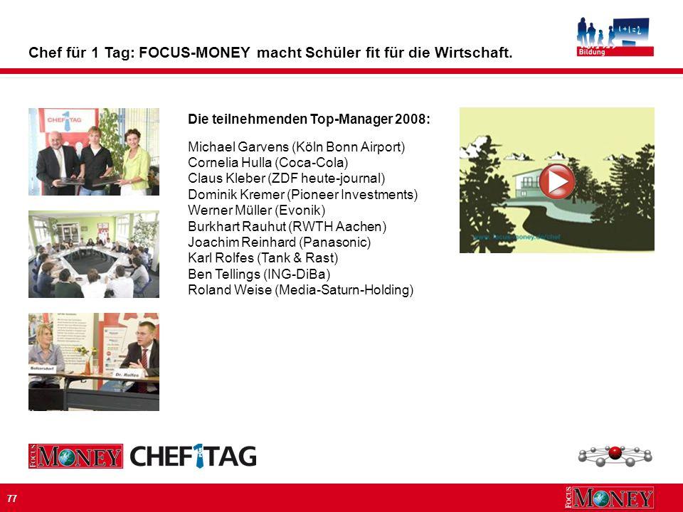 77 Die teilnehmenden Top-Manager 2008: Michael Garvens (Köln Bonn Airport) Cornelia Hulla (Coca-Cola) Claus Kleber (ZDF heute-journal) Dominik Kremer (Pioneer Investments) Werner Müller (Evonik) Burkhart Rauhut (RWTH Aachen) Joachim Reinhard (Panasonic) Karl Rolfes (Tank & Rast) Ben Tellings (ING-DiBa) Roland Weise (Media-Saturn-Holding) Chef für 1 Tag: FOCUS-MONEY macht Schüler fit für die Wirtschaft.