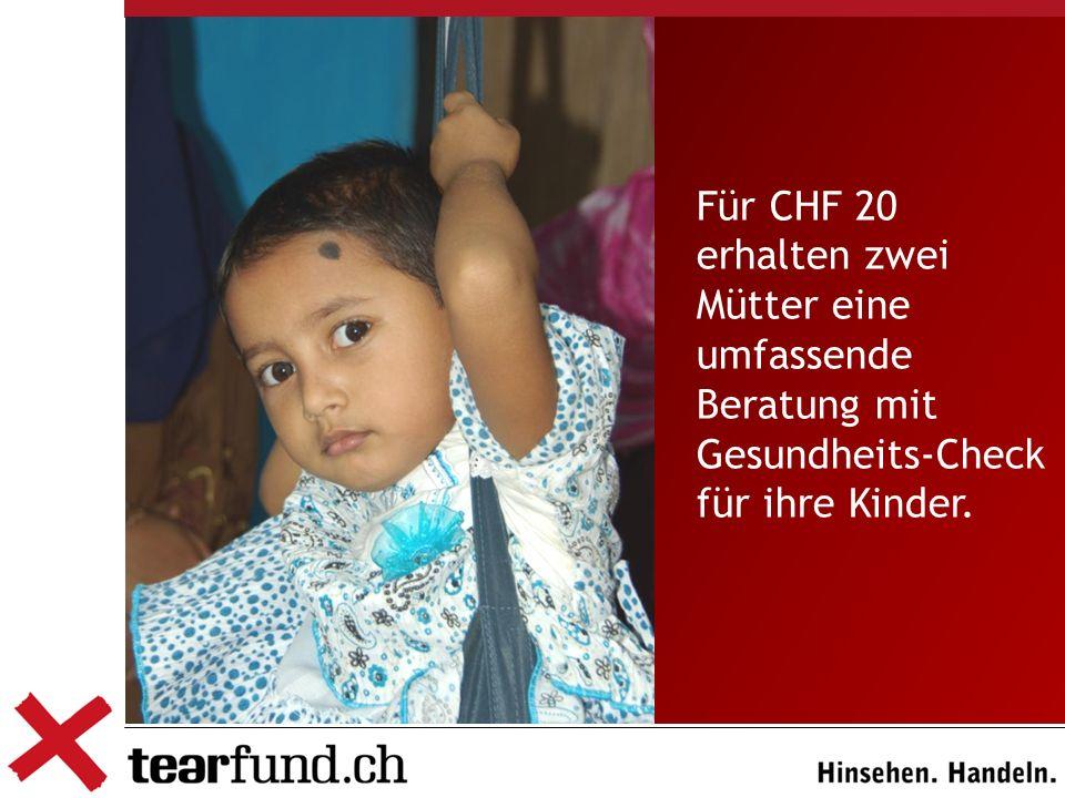 Für CHF 20 erhalten zwei Mütter eine umfassende Beratung mit Gesundheits-Check für ihre Kinder.