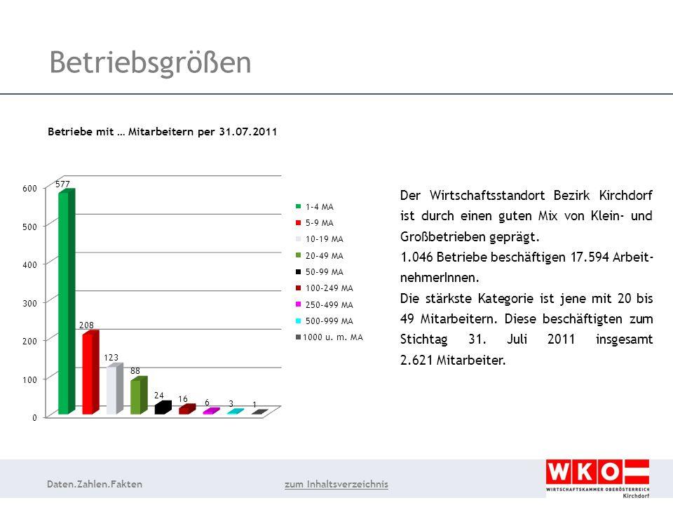 Daten.Zahlen.Fakten Betriebsgrößen Der Wirtschaftsstandort Bezirk Kirchdorf ist durch einen guten Mix von Klein- und Großbetrieben geprägt.