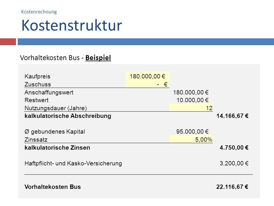 Kostenrechnung Kostenstruktur 13 Vorhaltekosten Bus - Beispiel Kaufpreis 180.000,00 Zuschuss - Anschaffungswert 180.000,00 Restwert 10.000,00 Nutzungs