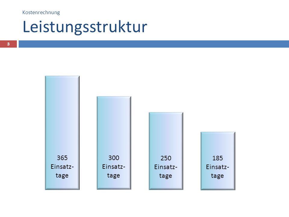 Kostenrechnung Leistungsstruktur 3 250 Einsatz- tage 300 Einsatz- tage 365 Einsatz- tage 185 Einsatz- tage