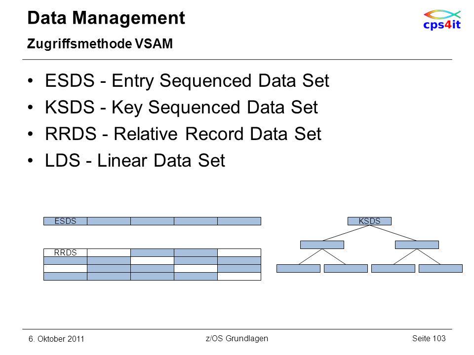 Data Management Zugriffsmethode VSAM ESDS - Entry Sequenced Data Set KSDS - Key Sequenced Data Set RRDS - Relative Record Data Set LDS - Linear Data S