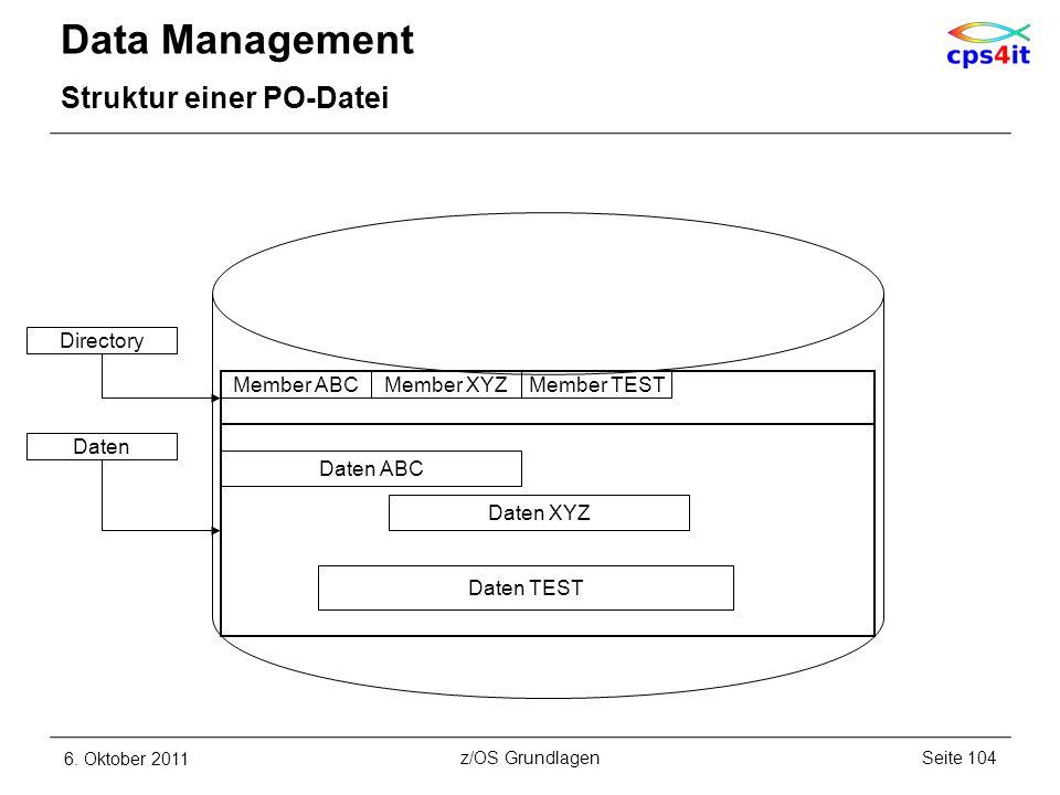 Data Management Struktur einer PO-Datei 6. Oktober 2011Seite 104z/OS Grundlagen Member ABCMember XYZMember TEST Daten ABC Daten XYZ Daten TEST Directo