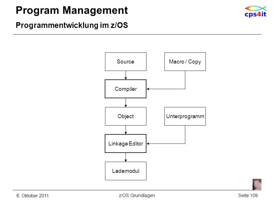 Program Management Programmentwicklung im z/OS 6. Oktober 2011Seite 109z/OS Grundlagen Object SourceMacro / Copy Compiler Lademodul Linkage Editor Unt