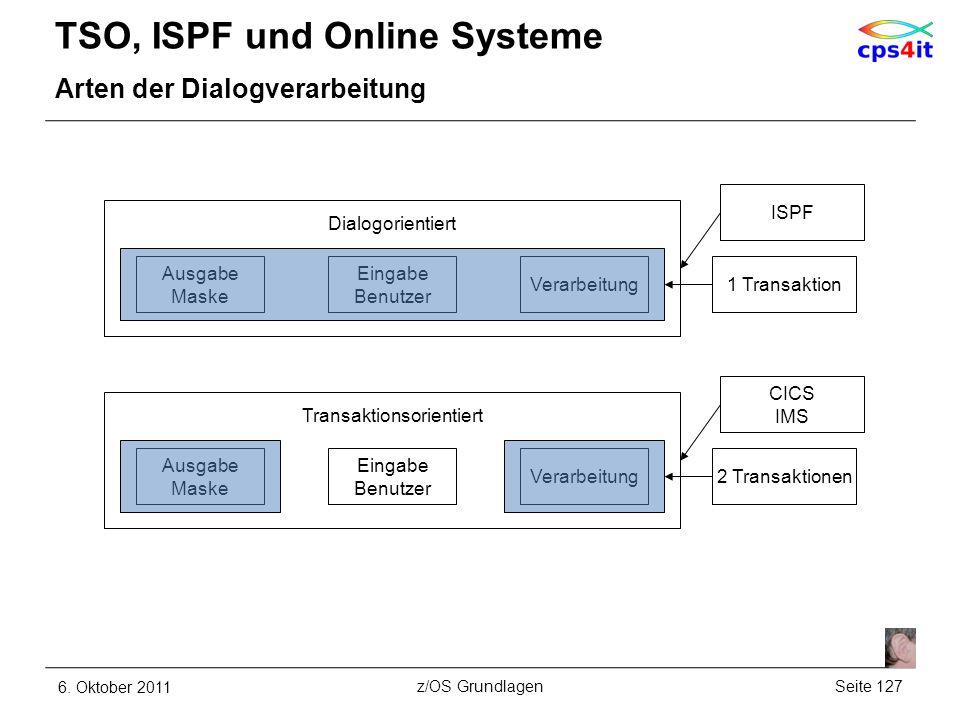 TSO, ISPF und Online Systeme Arten der Dialogverarbeitung 6. Oktober 2011Seite 127z/OS Grundlagen Ausgabe Maske Eingabe Benutzer Verarbeitung Dialogor