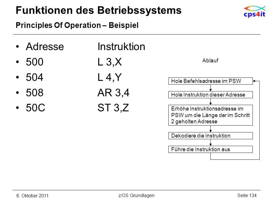 Funktionen des Betriebssystems Principles Of Operation – Beispiel AdresseInstruktion 500L 3,X 504L 4,Y 508AR 3,4 50CST 3,Z 6. Oktober 2011Seite 134z/O