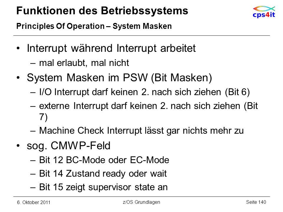 Funktionen des Betriebssystems Principles Of Operation – System Masken Interrupt während Interrupt arbeitet –mal erlaubt, mal nicht System Masken im P