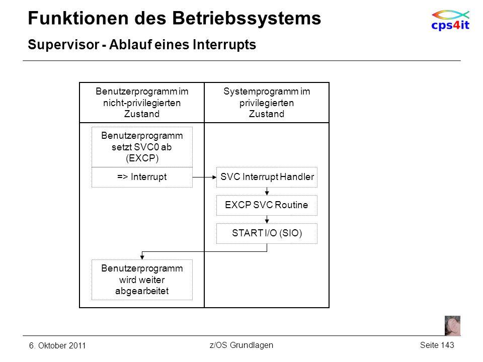 Funktionen des Betriebssystems Supervisor - Ablauf eines Interrupts 6. Oktober 2011Seite 143z/OS Grundlagen Benutzerprogramm im nicht-privilegierten Z