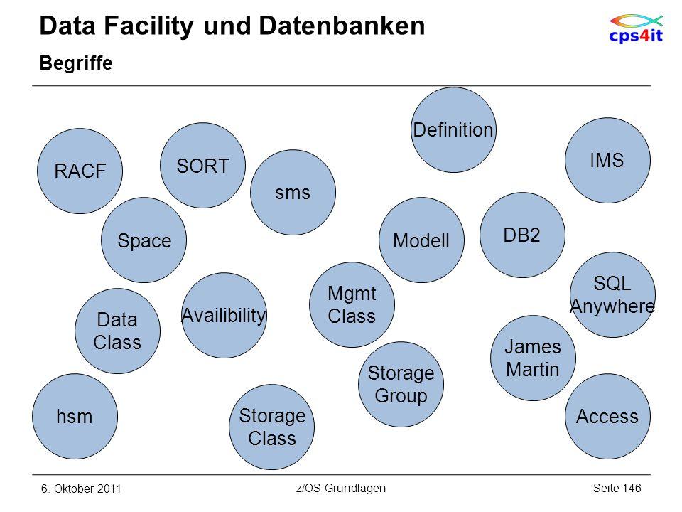 Data Facility und Datenbanken Begriffe 6. Oktober 2011Seite 146z/OS Grundlagen SORT hsm sms Space RACF Storage Class Mgmt Class Data Class Storage Gro