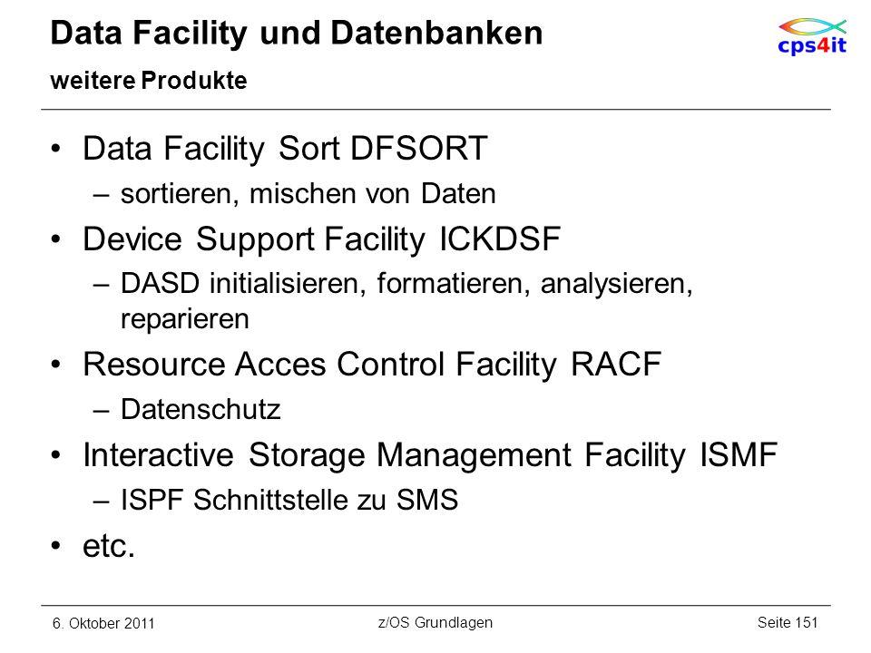 Data Facility und Datenbanken weitere Produkte Data Facility Sort DFSORT –sortieren, mischen von Daten Device Support Facility ICKDSF –DASD initialisi