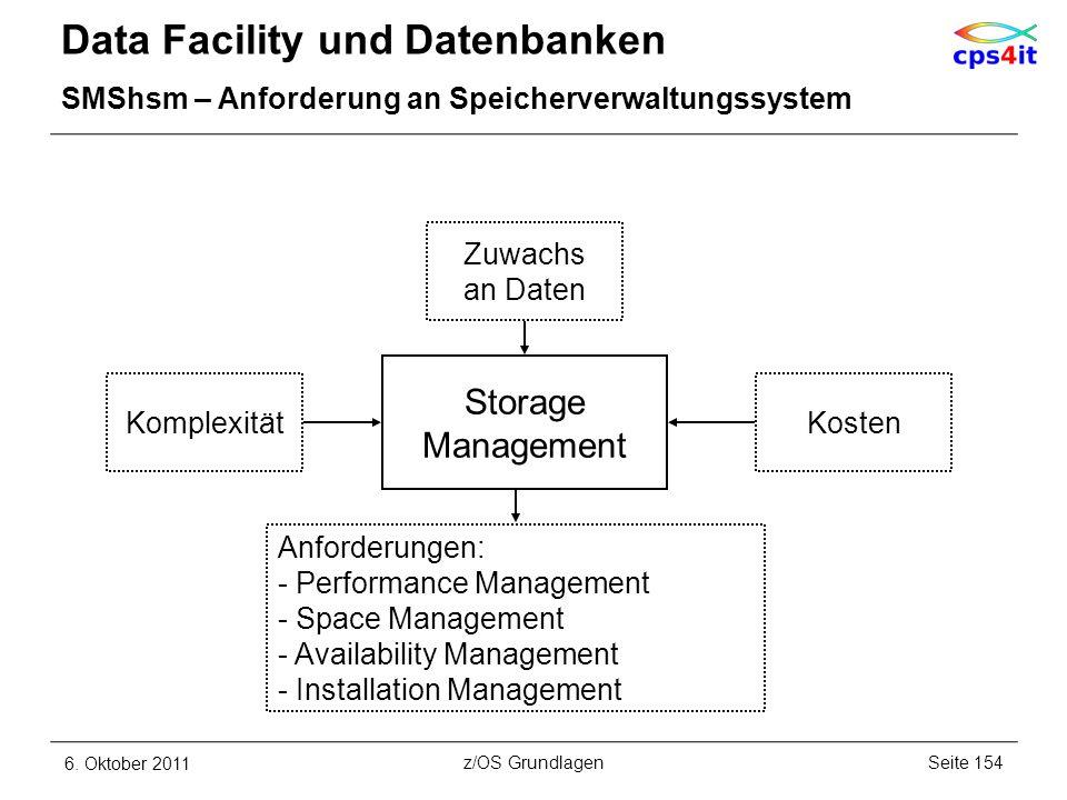 Data Facility und Datenbanken SMShsm – Anforderung an Speicherverwaltungssystem 6. Oktober 2011Seite 154z/OS Grundlagen Storage Management Zuwachs an