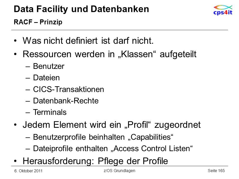 Data Facility und Datenbanken RACF – Prinzip Was nicht definiert ist darf nicht. Ressourcen werden in Klassen aufgeteilt –Benutzer –Dateien –CICS-Tran
