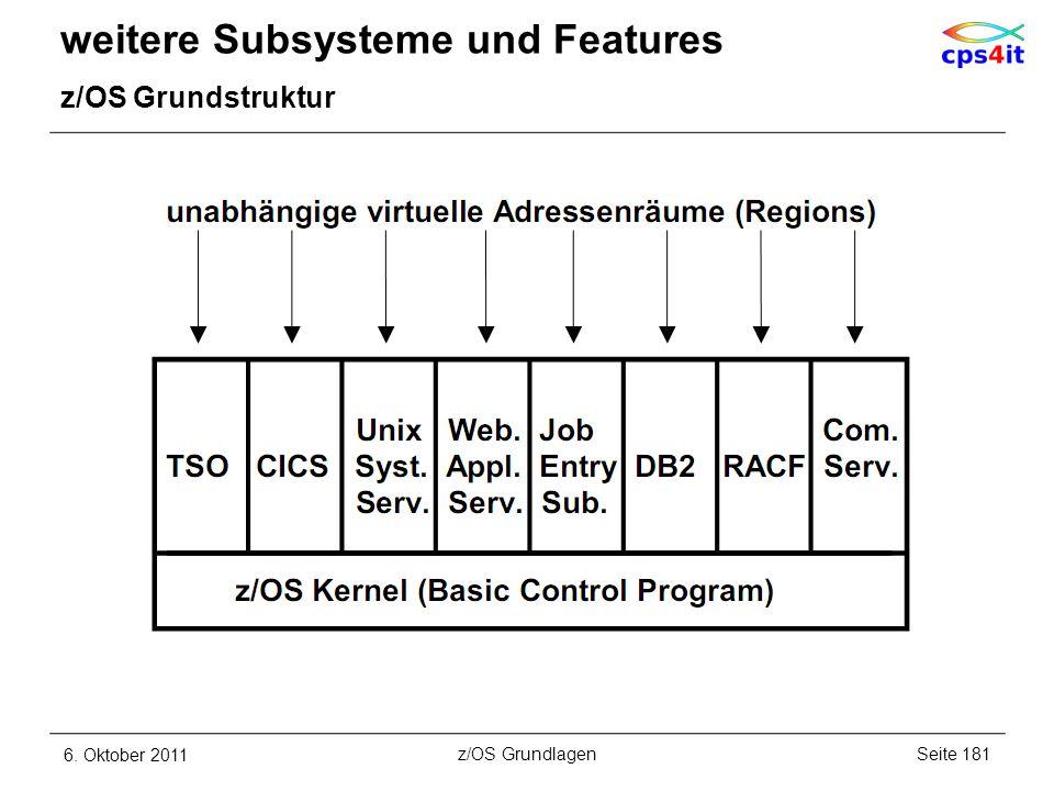 weitere Subsysteme und Features z/OS Grundstruktur 6. Oktober 2011Seite 181z/OS Grundlagen