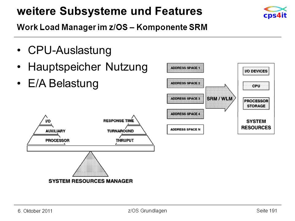 CPU-Auslastung Hauptspeicher Nutzung E/A Belastung weitere Subsysteme und Features Work Load Manager im z/OS – Komponente SRM 6. Oktober 2011Seite 191