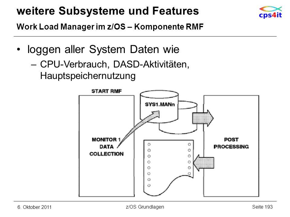 loggen aller System Daten wie –CPU-Verbrauch, DASD-Aktivitäten, Hauptspeichernutzung weitere Subsysteme und Features Work Load Manager im z/OS – Kompo