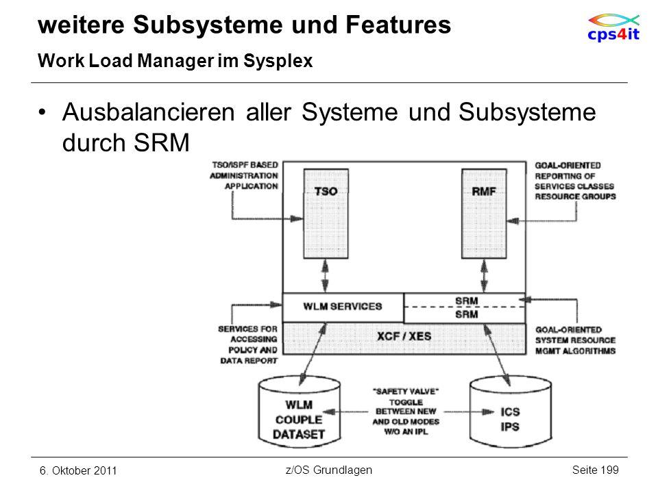Ausbalancieren aller Systeme und Subsysteme durch SRM weitere Subsysteme und Features Work Load Manager im Sysplex 6. Oktober 2011Seite 199z/OS Grundl