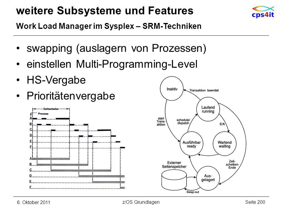 swapping (auslagern von Prozessen) einstellen Multi-Programming-Level HS-Vergabe Prioritätenvergabe weitere Subsysteme und Features Work Load Manager
