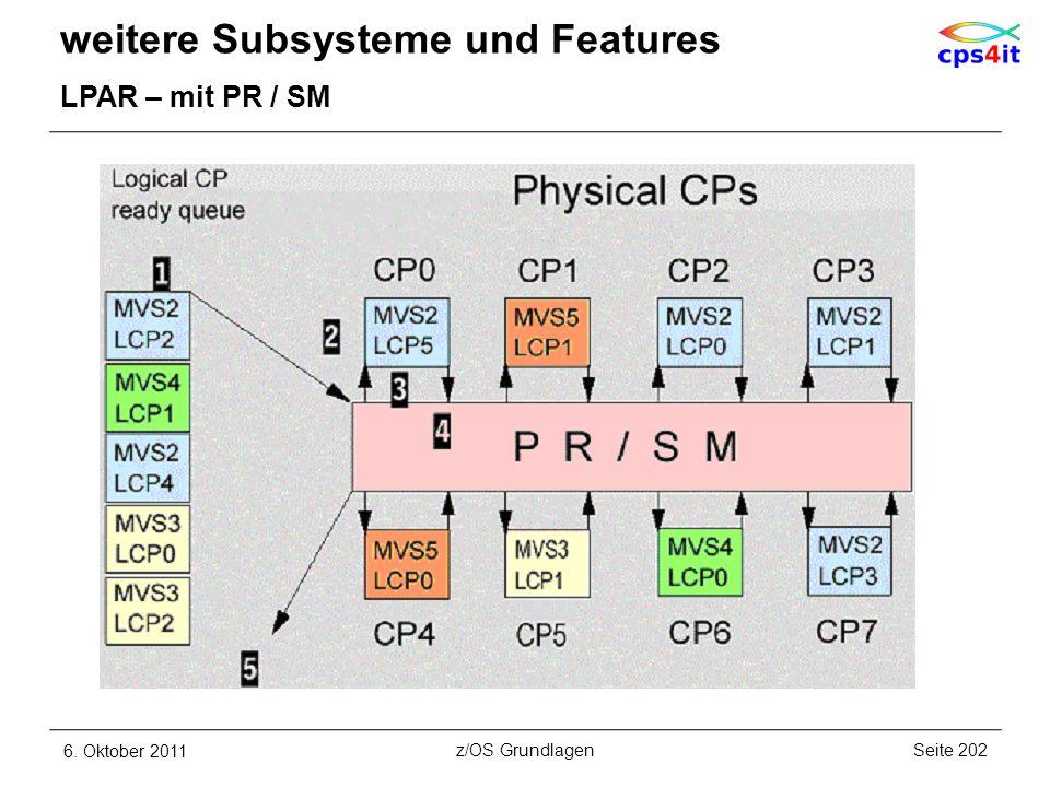 weitere Subsysteme und Features LPAR – mit PR / SM 6. Oktober 2011Seite 202z/OS Grundlagen