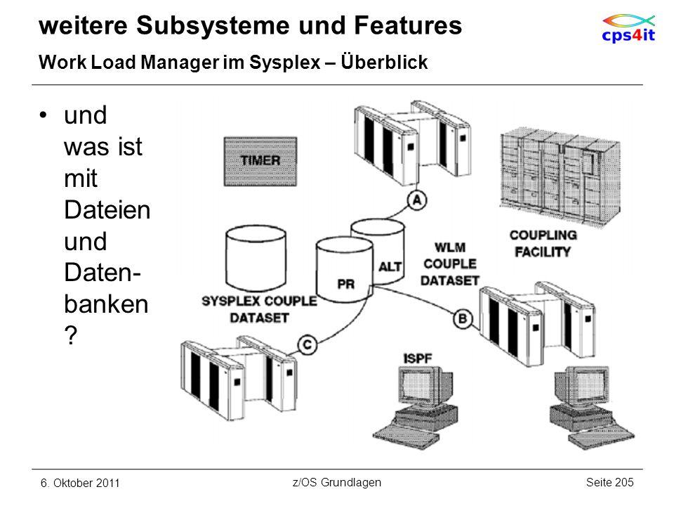 weitere Subsysteme und Features Work Load Manager im Sysplex – Überblick und was ist mit Dateien und Daten- banken ? 6. Oktober 2011Seite 205z/OS Grun