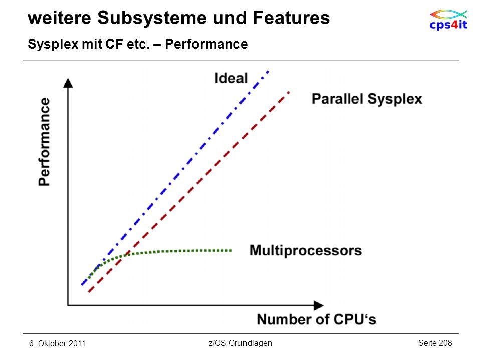 weitere Subsysteme und Features Sysplex mit CF etc. – Performance 6. Oktober 2011Seite 208z/OS Grundlagen