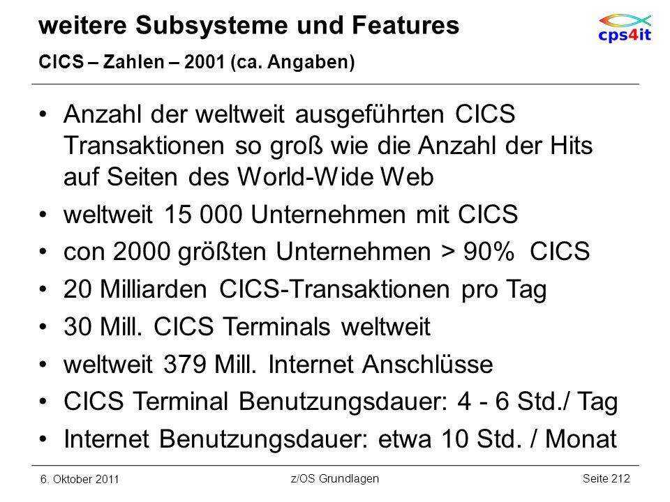 weitere Subsysteme und Features CICS – Zahlen – 2001 (ca. Angaben) Anzahl der weltweit ausgeführten CICS Transaktionen so groß wie die Anzahl der Hits