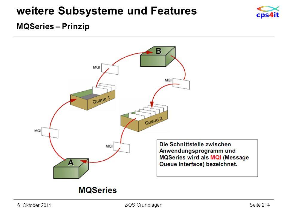 weitere Subsysteme und Features MQSeries – Prinzip 6. Oktober 2011Seite 214z/OS Grundlagen