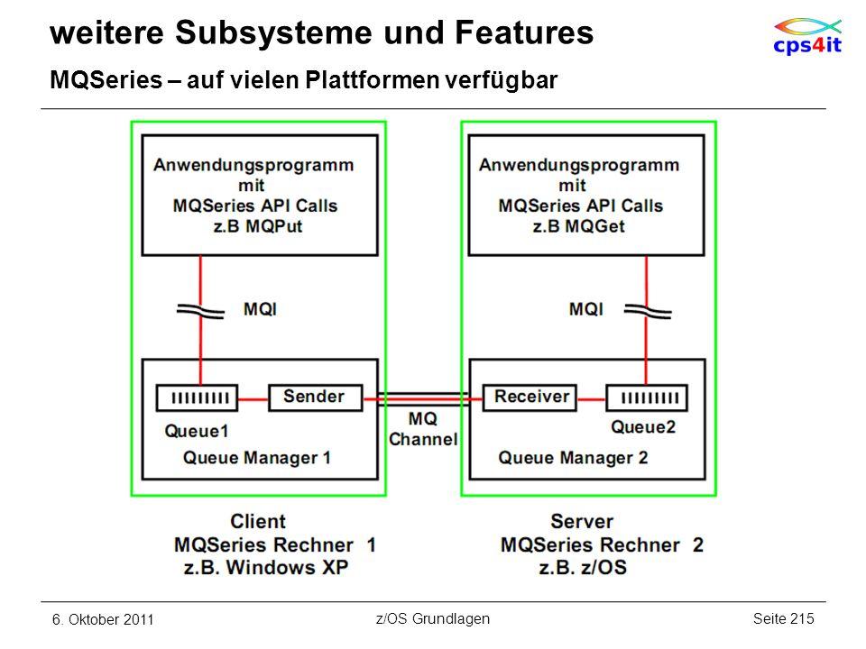 weitere Subsysteme und Features MQSeries – auf vielen Plattformen verfügbar 6. Oktober 2011Seite 215z/OS Grundlagen