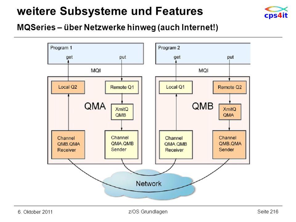 weitere Subsysteme und Features MQSeries – über Netzwerke hinweg (auch Internet!) 6. Oktober 2011Seite 216z/OS Grundlagen
