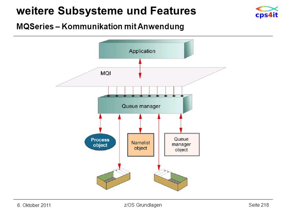 weitere Subsysteme und Features MQSeries – Kommunikation mit Anwendung 6. Oktober 2011Seite 218z/OS Grundlagen