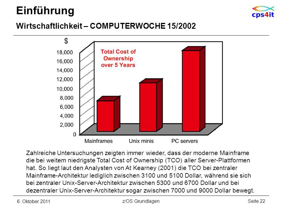 Einführung Wirtschaftlichkeit – COMPUTERWOCHE 15/2002 6. Oktober 2011Seite 22z/OS Grundlagen Zahlreiche Untersuchungen zeigten immer wieder, dass der