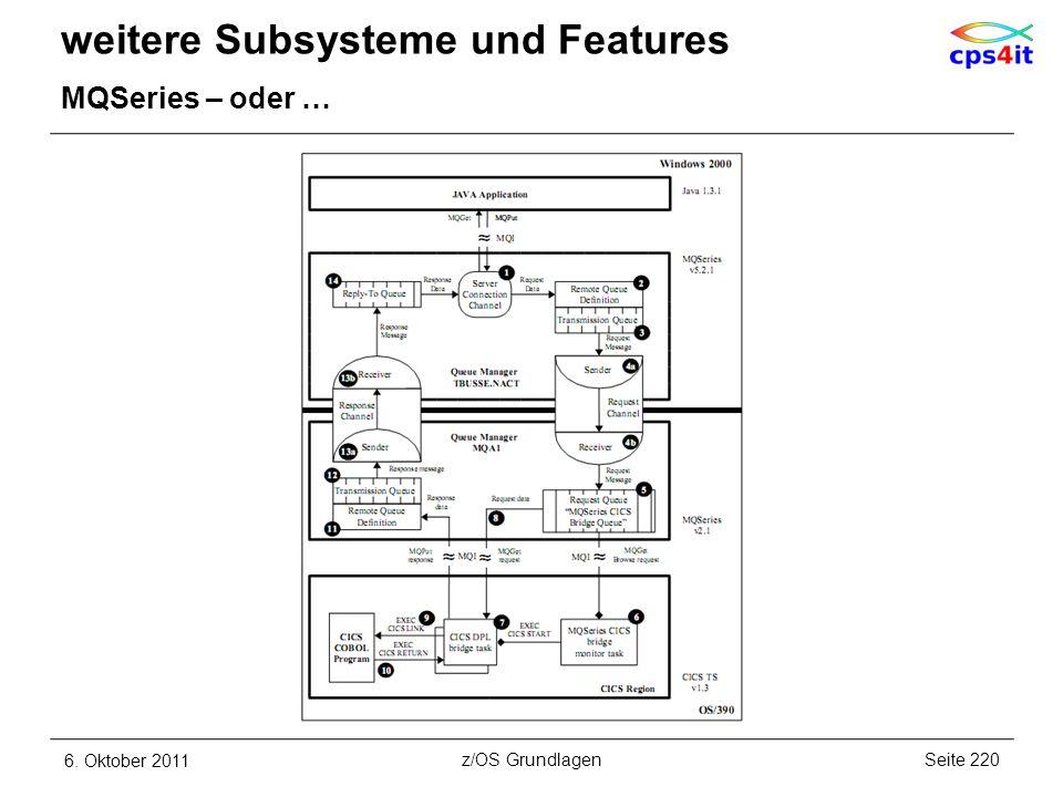 weitere Subsysteme und Features MQSeries – oder … 6. Oktober 2011Seite 220z/OS Grundlagen