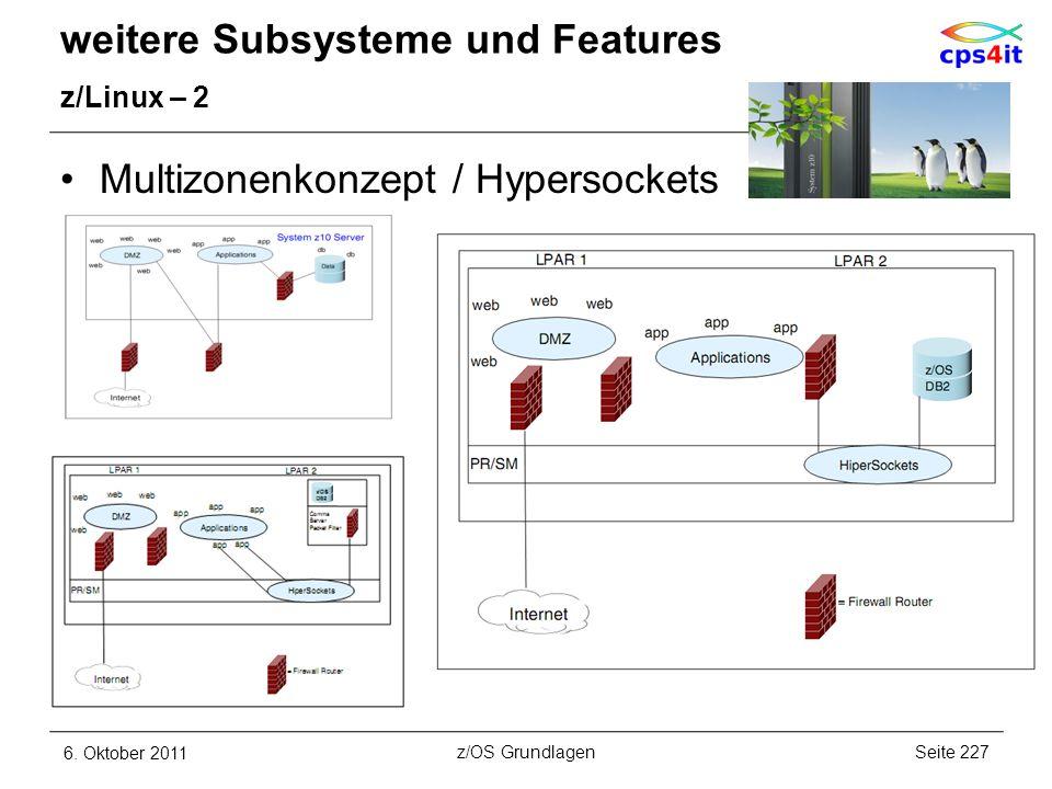 weitere Subsysteme und Features z/Linux – 2 Multizonenkonzept / Hypersockets 6. Oktober 2011Seite 227z/OS Grundlagen