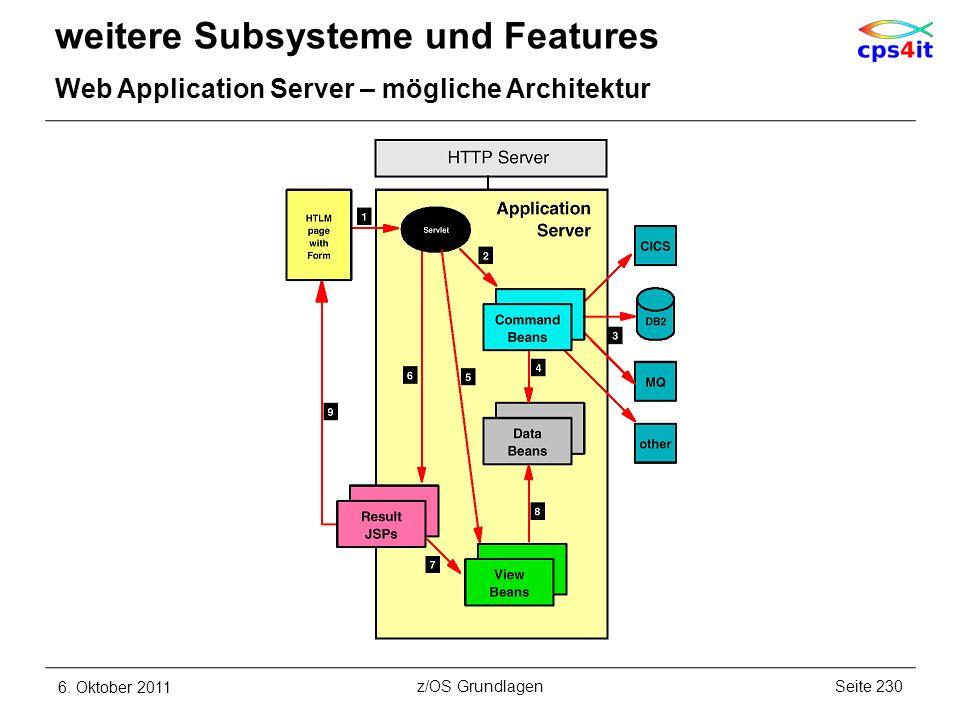 weitere Subsysteme und Features Web Application Server – mögliche Architektur 6. Oktober 2011Seite 230z/OS Grundlagen
